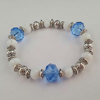 Pale blue, white and silver glass bead bracelet - 2001219