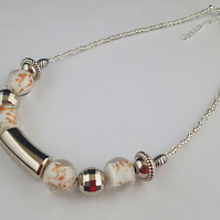 White lampwork and silver bead necklace - 1002454