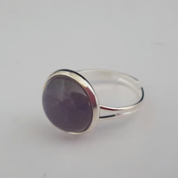 Amethyst ring, adjustable
