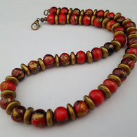 Stripey wooden bead necklace - red, black, gold - 1002447