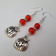 Halloween pumpkin earrings - red and silver