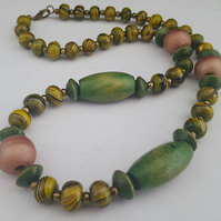 Sage green and rose gold wooden bead necklace - 1002369