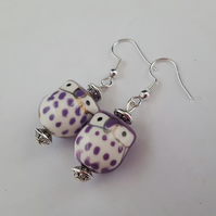 Purple ceramic owl earrings