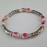 Pink and white floral ceramic bead bracelet - 2001403