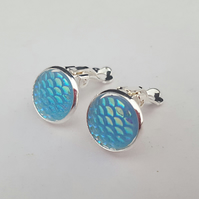 Turquoise iridiscent mermaid scales clip on earrings