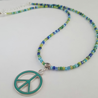Blue peace sign necklace - 1002465