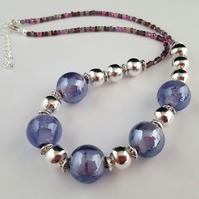Purple, pink and silver bead necklace - 1002466