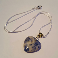 Sodalite heart on silver snake chain