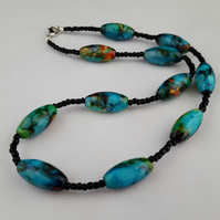 Wild Orchid Harlequin bead necklace - 1002518
