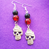 Halloween Skull Beaded Earrings FREE UK Post