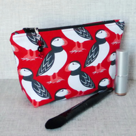 Puffins make up bag, zipped pouch, cosmetic bag
