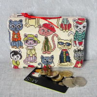 Coin purse, make up bag, comic cats