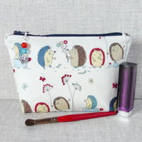 Make up bag, zipped pouch, cosmetic bag, hedgehogs