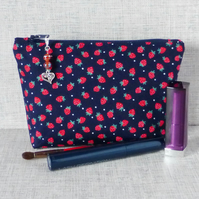 Make up bag, zipped pouch, cosmetic bag, strawberries