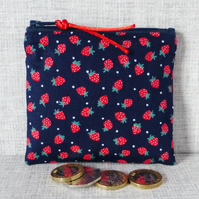 Small purse, coin purse, strawberries