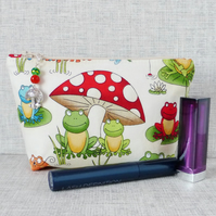 Make up bag, zipped pouch, cosmetic bag, toadstool, mushroom, frogs.