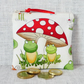 Small purse, coin purse, toastools, mushrooms, frogs