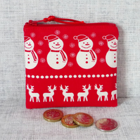 SALE:Small purse, coin purse, snowmen, reindeer, Christmas