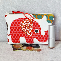 Large coin purse, make up bag, elephants