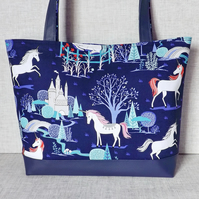 Tote bag, craft bag, unicorns.