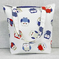 Owls tote bag, shopping bag