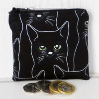 Small purse, coin purse, black cats.