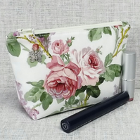 Make up bag, zipped pouch, cosmetic bag, roses