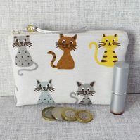 Large coin purse, make up bag, cats