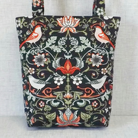 Tote bag, shopping bag, birds and flowers, small size