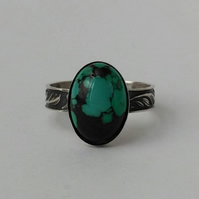 Turquoise statement ring in sterling silver size O