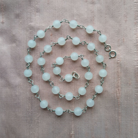 White jade and silver necklace