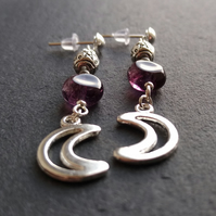 Moon and pentagram earrings in purple