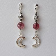 Moon and pentagram earrings in cool pink