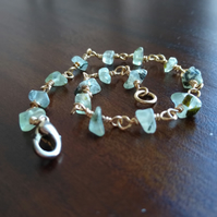 Prehnite bracelet with champagne gold wire