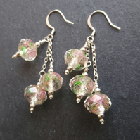 Glass and chain earrings