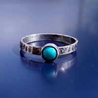 Turquoise and sterling silver ring, size O