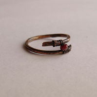 Ruby ring in wrapped antique copper