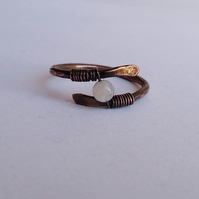 Moonstone ring in wrapped antique copper