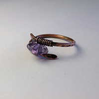 Amethyst ring in wrapped antique copper