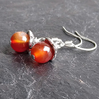 Tiny Carnelian and Silver Earrings - Autumn Berries