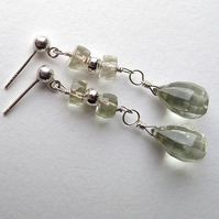 Natural green amethyst and sterling silver earrings