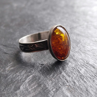 Baltic amber and sterling silver statement ring in size O
