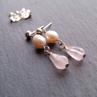Freshwater pearl and rose quartz sterling silver dangle earrings