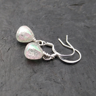 Tiny aurora borealis crackle quartz and silver earrings