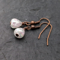 Tiny aurora borealis crackle quartz and antique copper earrings