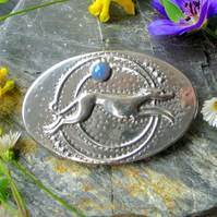 Greyhound Brooch, Handmade in Silver Pewter, Art Deco Inspired