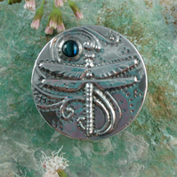 Dragonfly Brooch in Pewter with Blue-Green Abalone Shell