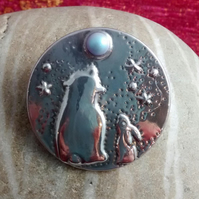 Hare and Bear Brooch with Swarovski Pearl Moon