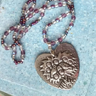 Heart-shaped Birds Pendant Necklace with Amethyst Glass Necklace