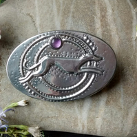 Greyhound Brooch, Silver Pewter with Amethyst, Art Deco Inspired
